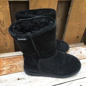 Bear Paw Black Suede Leather winter Boots women 8